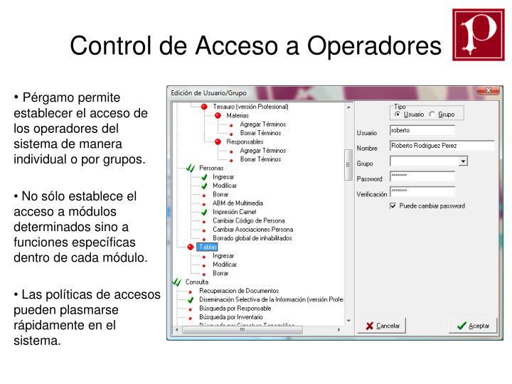 Control de Acceso a Operadores