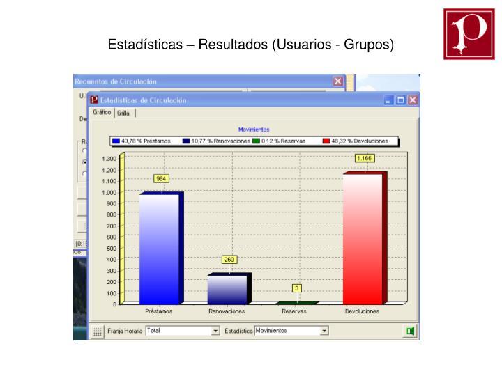 Estadísticas – Resultados (Usuarios - Grupos)