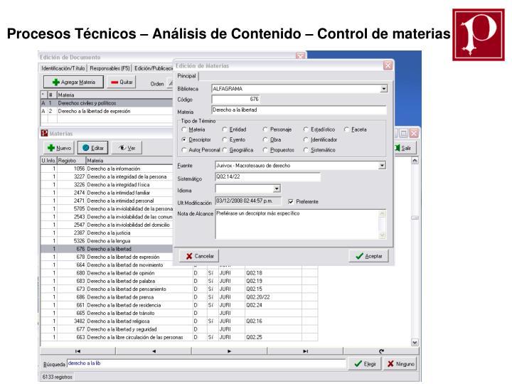 Procesos Técnicos – Análisis de Contenido – Control de materias
