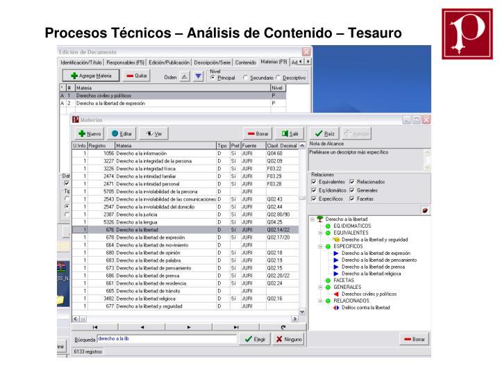 Procesos Técnicos – Análisis de Contenido – Tesauro