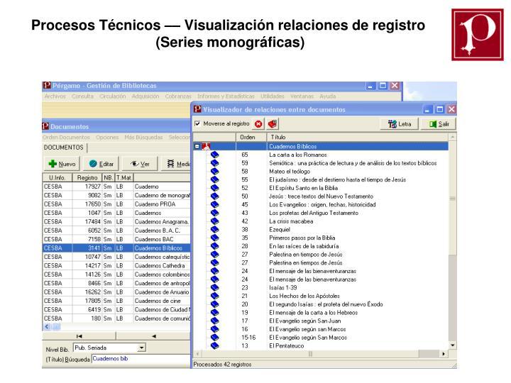 Procesos Técnicos –– Visualización relaciones de registro