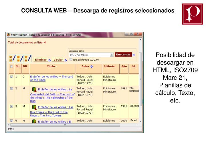 CONSULTA WEB – Descarga de registros seleccionados