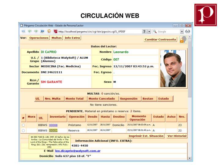CIRCULACIÓN WEB