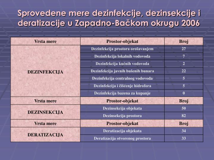 Sprovedene mere dezinfekcije, dezinsekcije i deratizacije u Zapadno-Bačkom okrugu 2006