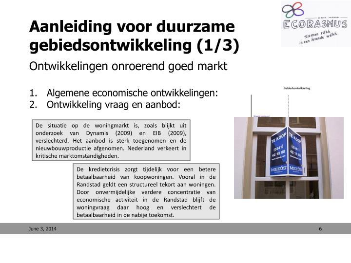 Aanleiding voor duurzame gebiedsontwikkeling (1/3)
