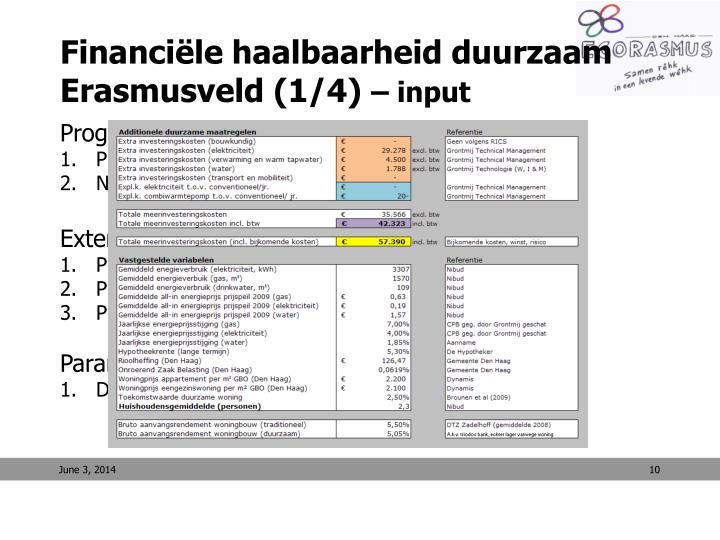 Financiële haalbaarheid duurzaam Erasmusveld (1/4)
