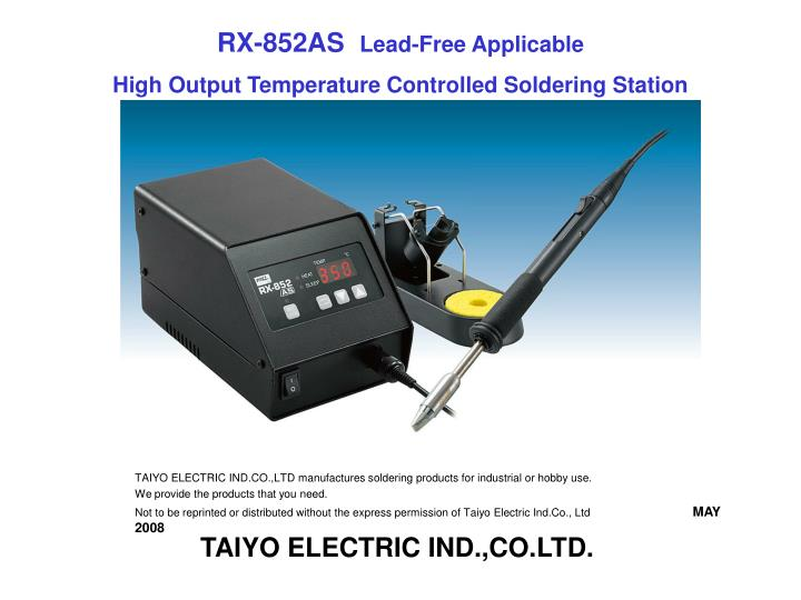 Rx 852as lead free applicable high output temperature controlled soldering station