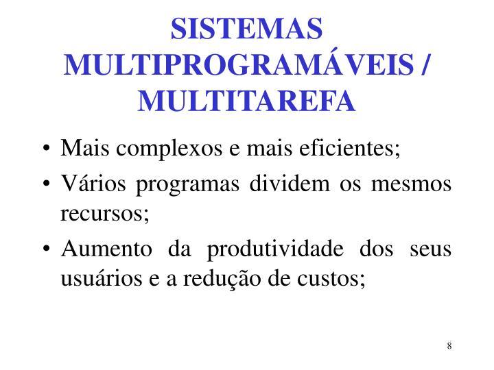 SISTEMAS MULTIPROGRAMÁVEIS / MULTITAREFA