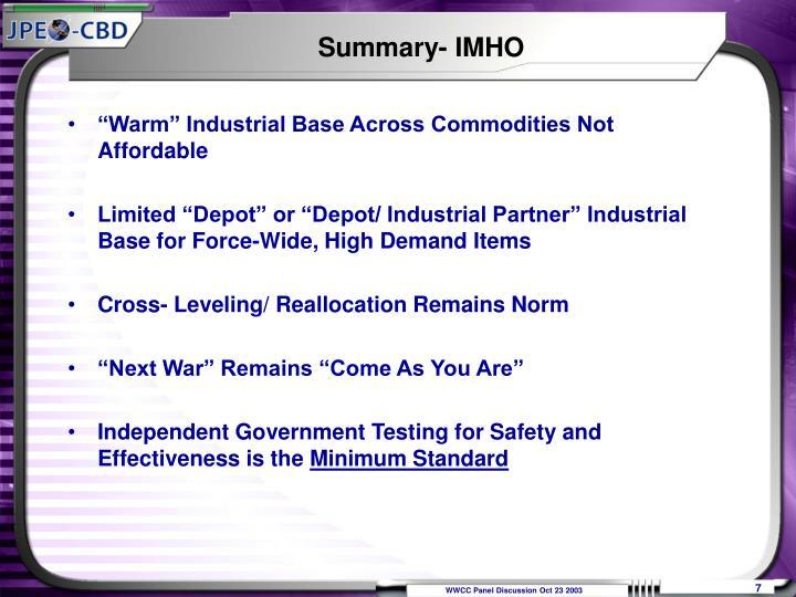 Summary- IMHO
