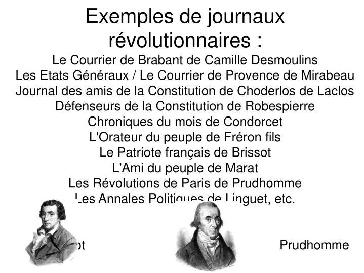 Exemples de journaux révolutionnaires :