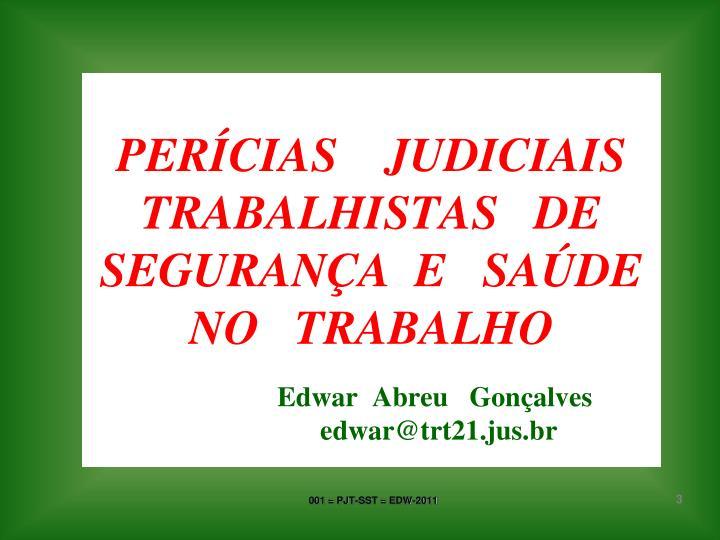 PERÍCIAS    JUDICIAIS TRABALHISTAS   DE   SEGURANÇA  E   SAÚDE