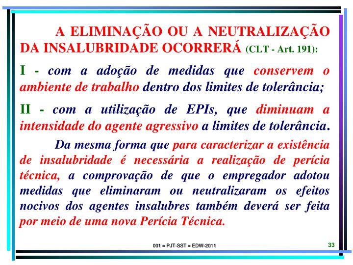 A eliminação ou a neutralização da insalubridade ocorrerá