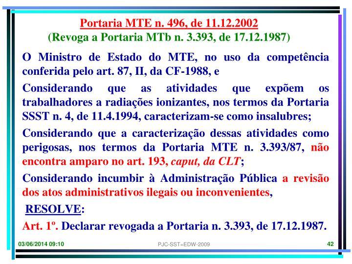 Portaria MTE n. 496, de 11.12.2002