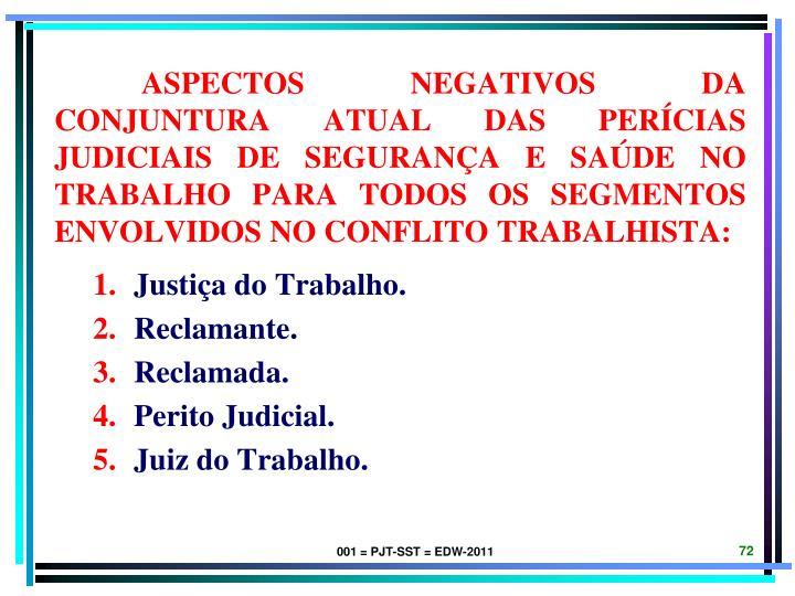 ASPECTOS NEGATIVOS DA CONJUNTURA ATUAL DAS PERÍCIAS JUDICIAIS DE SEGURANÇA E SAÚDE NO TRABALHO PARA TODOS OS SEGMENTOS ENVOLVIDOS NO CONFLITO TRABALHISTA:
