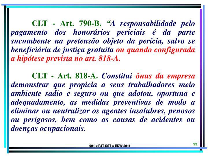 CLT - Art. 790-B.