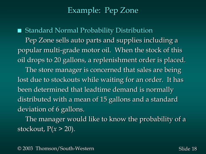 Example:  Pep Zone