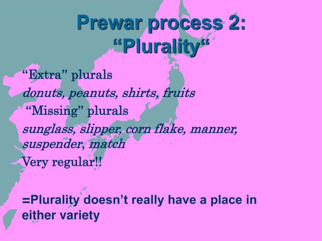 """Prewar process 2: """"Plurality"""""""