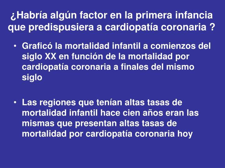 ¿Habría algún factor en la primera infancia que predispusiera a cardiopatía coronaria ?