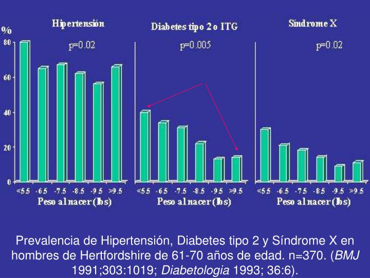 Prevalencia de Hipertensión, Diabetes tipo 2 y Síndrome X en hombres de Hertfordshire de 61-70 años de edad. n=370. (