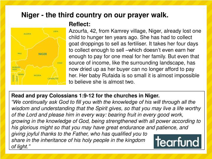 Niger - the third country on our prayer walk.