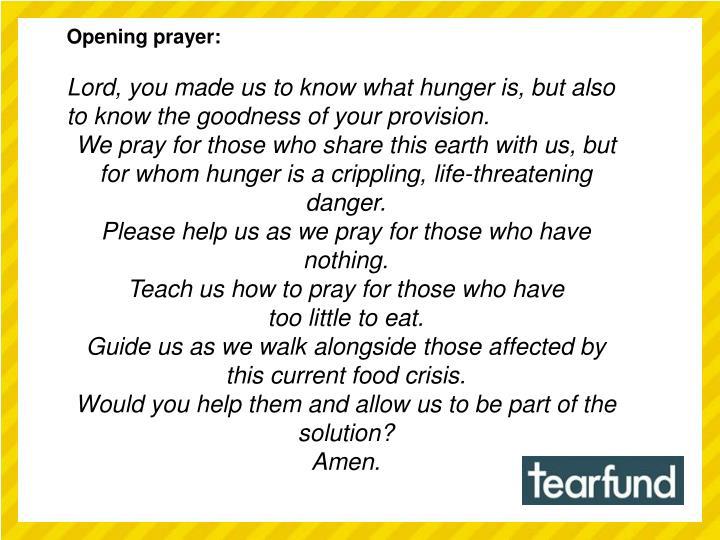 Opening prayer:
