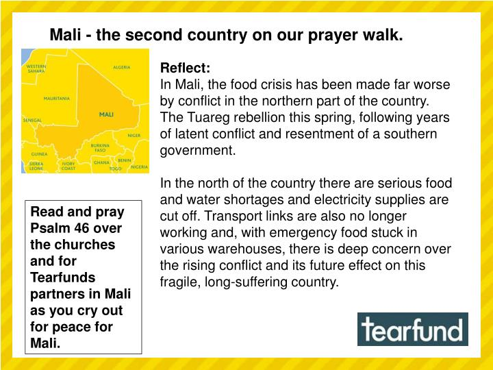 Mali - the second country on our prayer walk.