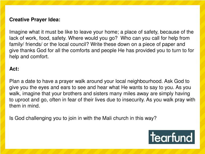 Creative Prayer Idea: