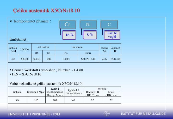 Çeliku austenitik X5CrNi18.10