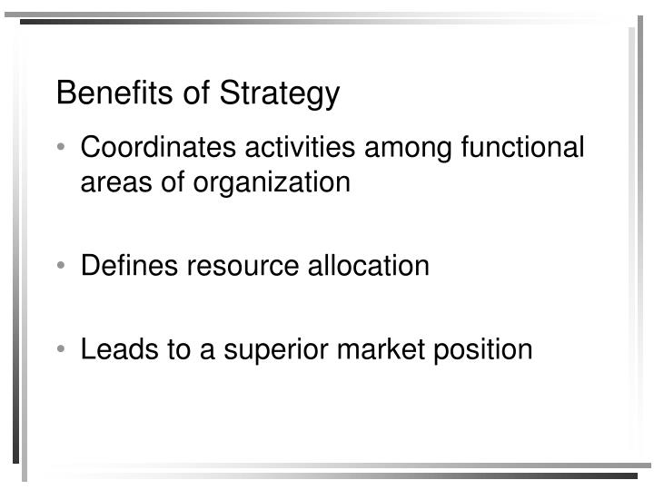 Benefits of Strategy