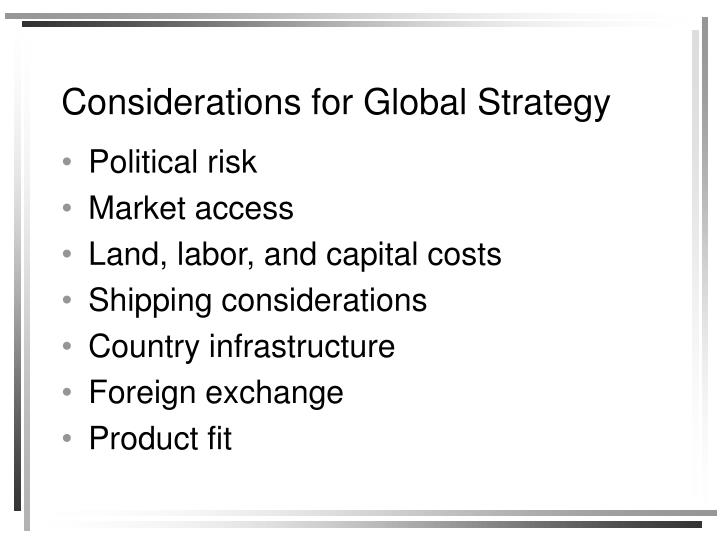 Considerations for Global Strategy