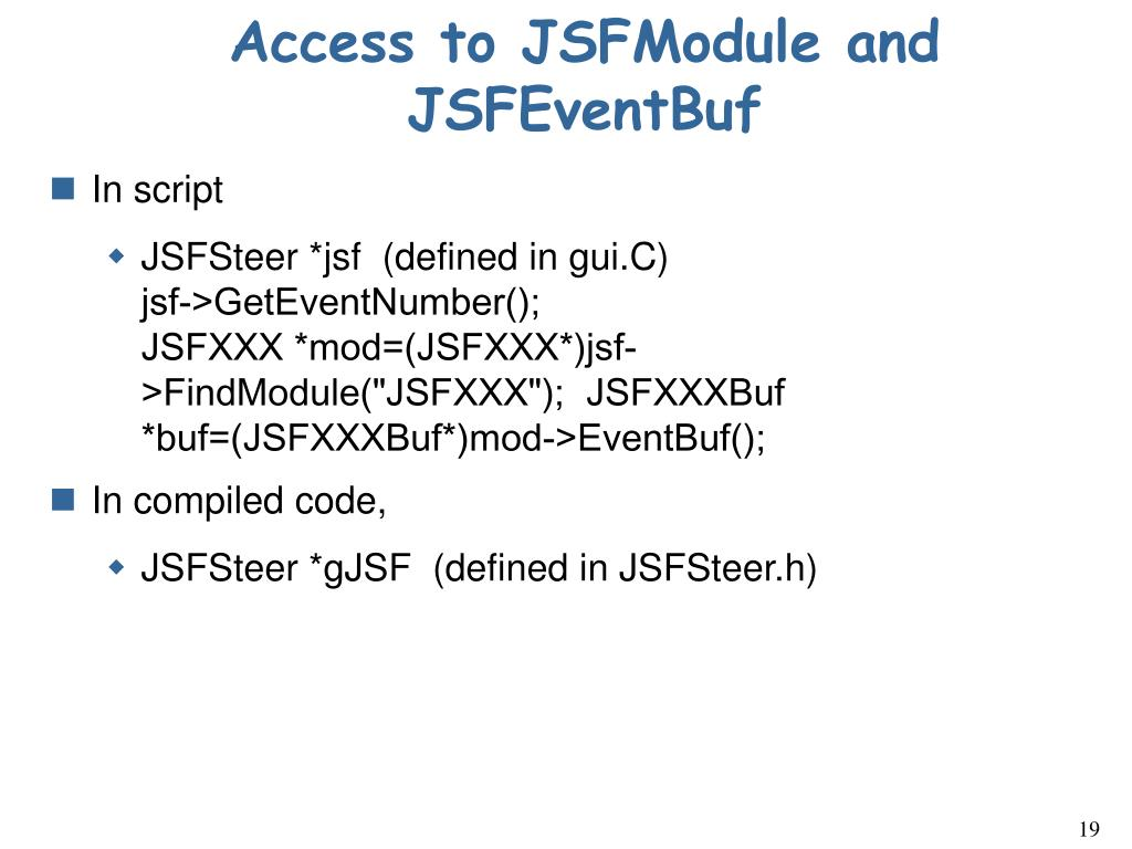 Access to JSFModule and JSFEventBuf