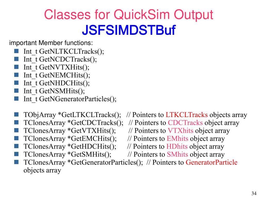 Classes for QuickSim Output