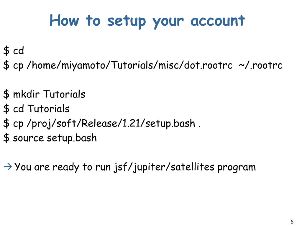 How to setup your account