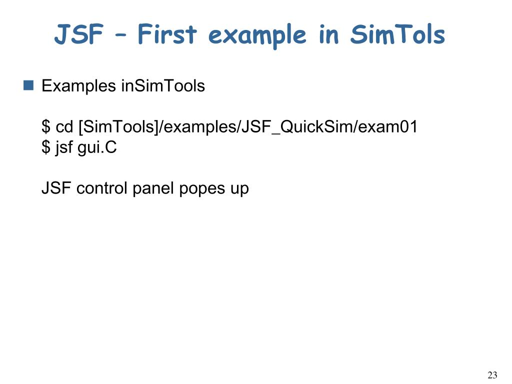 JSF – First example in SimTols