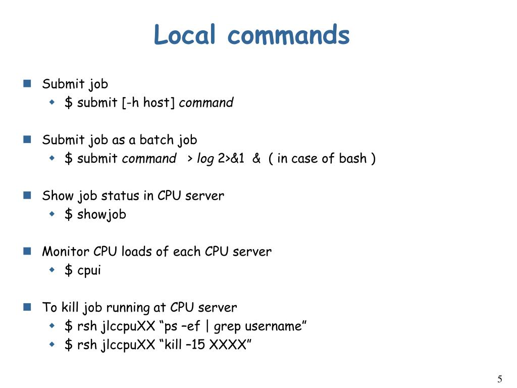 Local commands