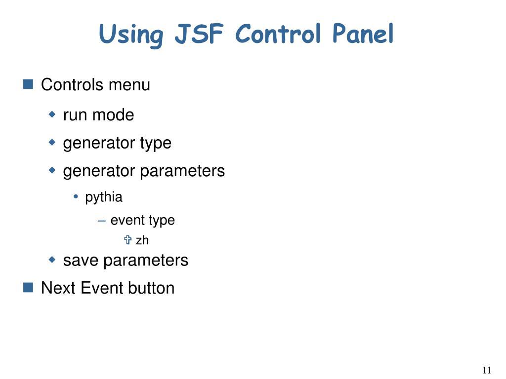 Using JSF Control Panel