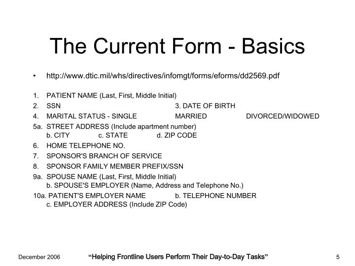 The Current Form - Basics