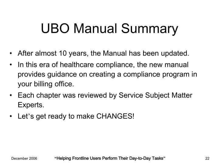 UBO Manual Summary