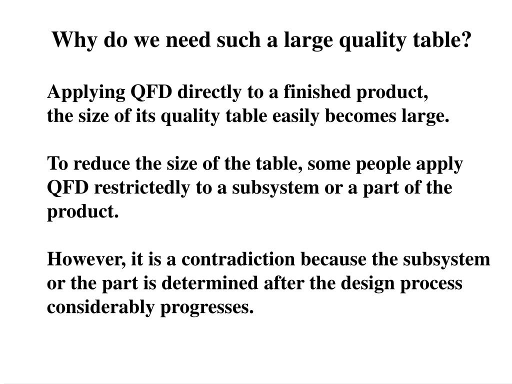Why do we need such a large quality table?