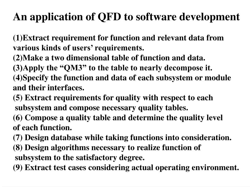 An application of QFD to software development