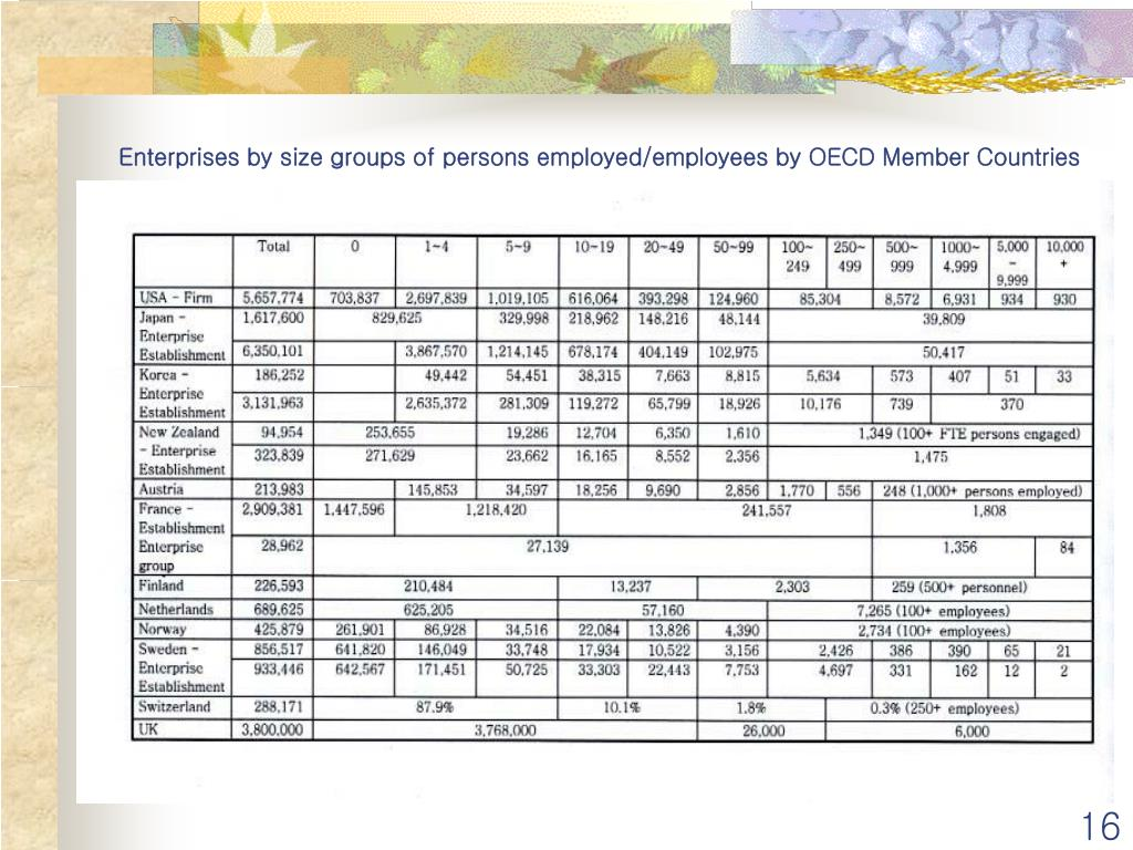 Enterprises by size groups of persons employed/employees by OECD Member Countries