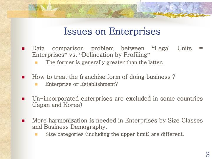 Issues on enterprises