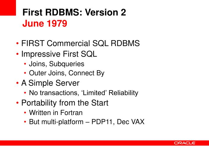 First RDBMS: Version 2