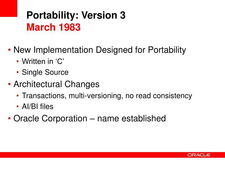 Portability: Version 3