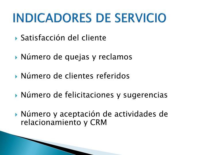 INDICADORES DE SERVICIO