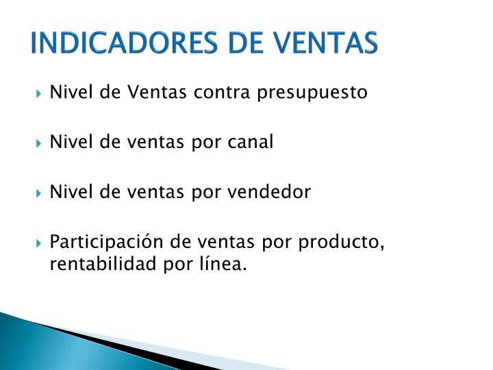 INDICADORES DE VENTAS