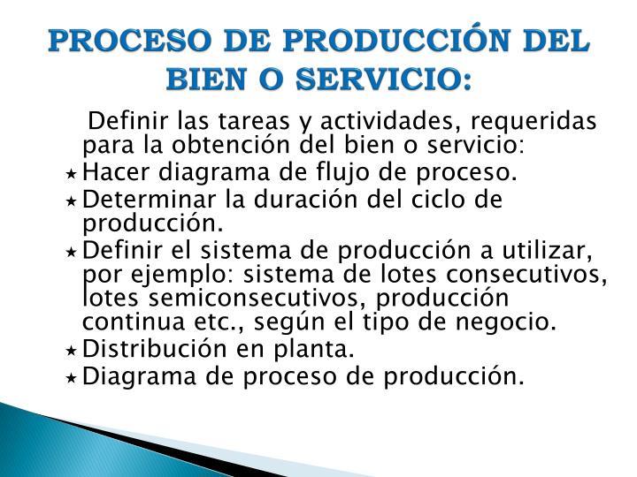 PROCESO DE PRODUCCIÓN DEL BIEN O SERVICIO: