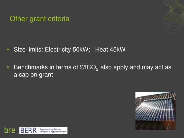 Other grant criteria