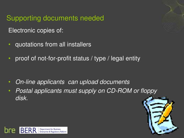 Supporting documents needed
