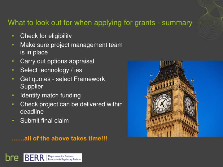 What to look out for when applying for grants - summary